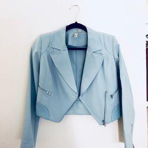 Cropped Blazer Jacket Powder Blue